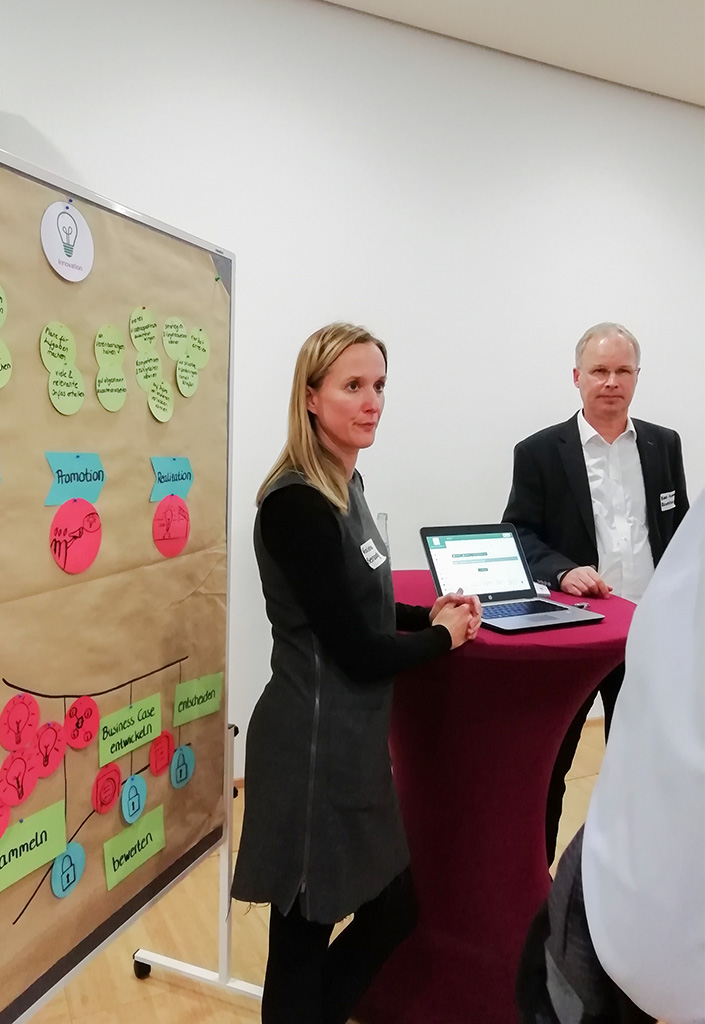 Valeria Bernardy präsentiert die Innovationsergebnisse auf dem ersten vLead Dialogforum